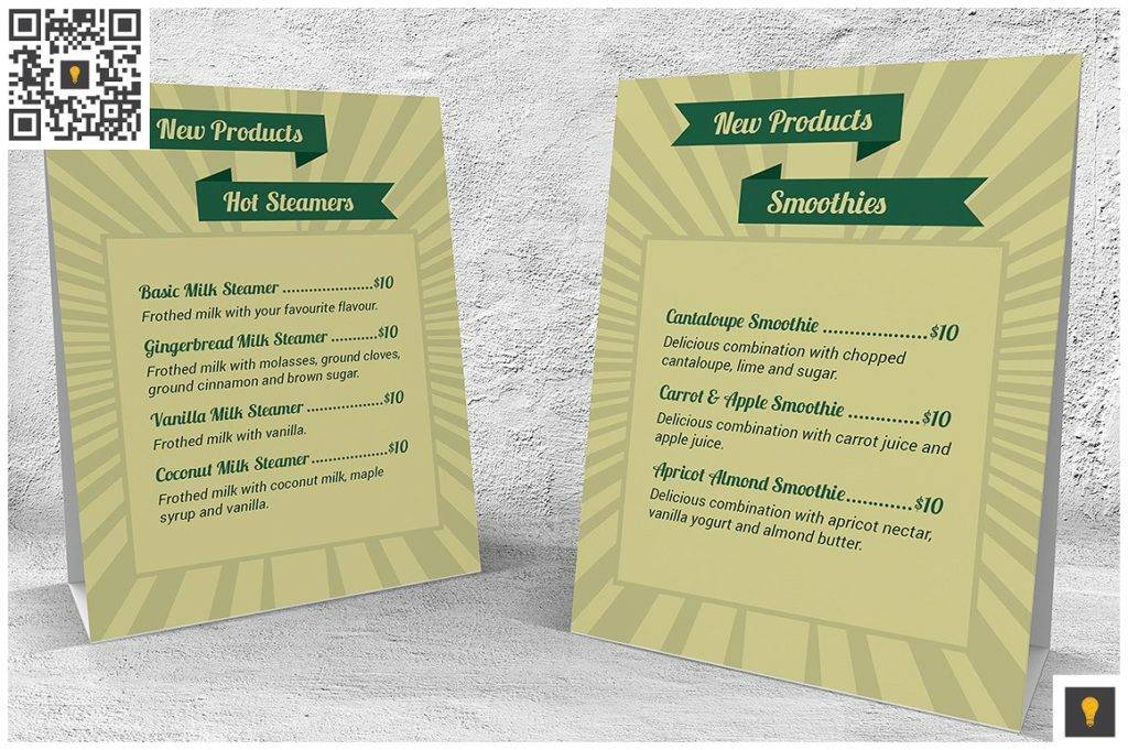 retro coffee shop table tent indesign menu example 1024x681