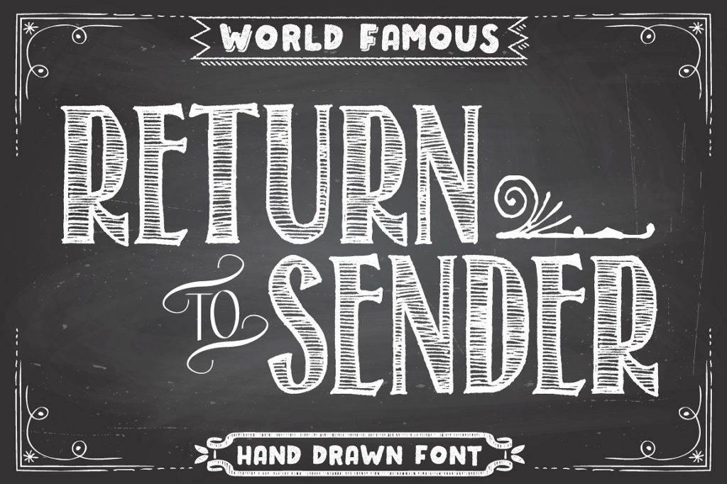 return to sender font chalkboard poster