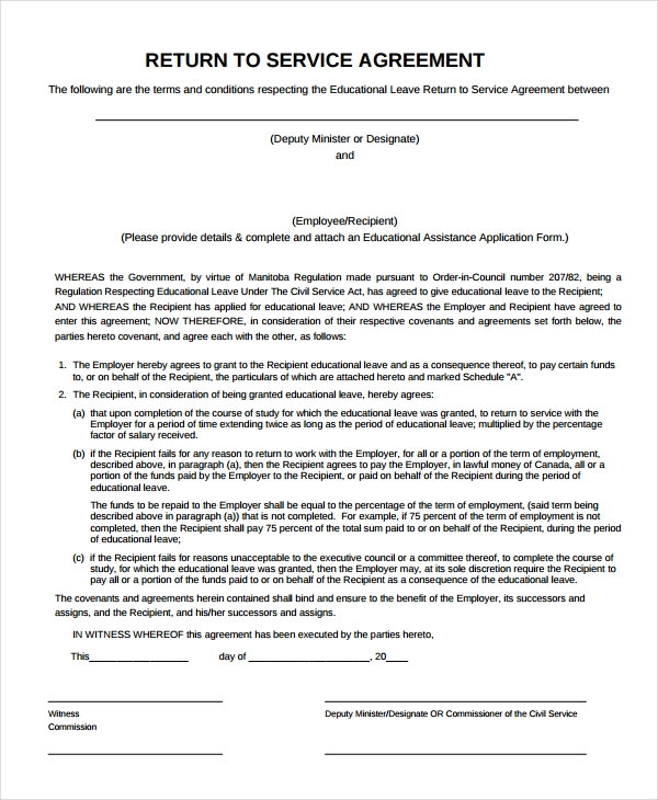 return of service agreement template