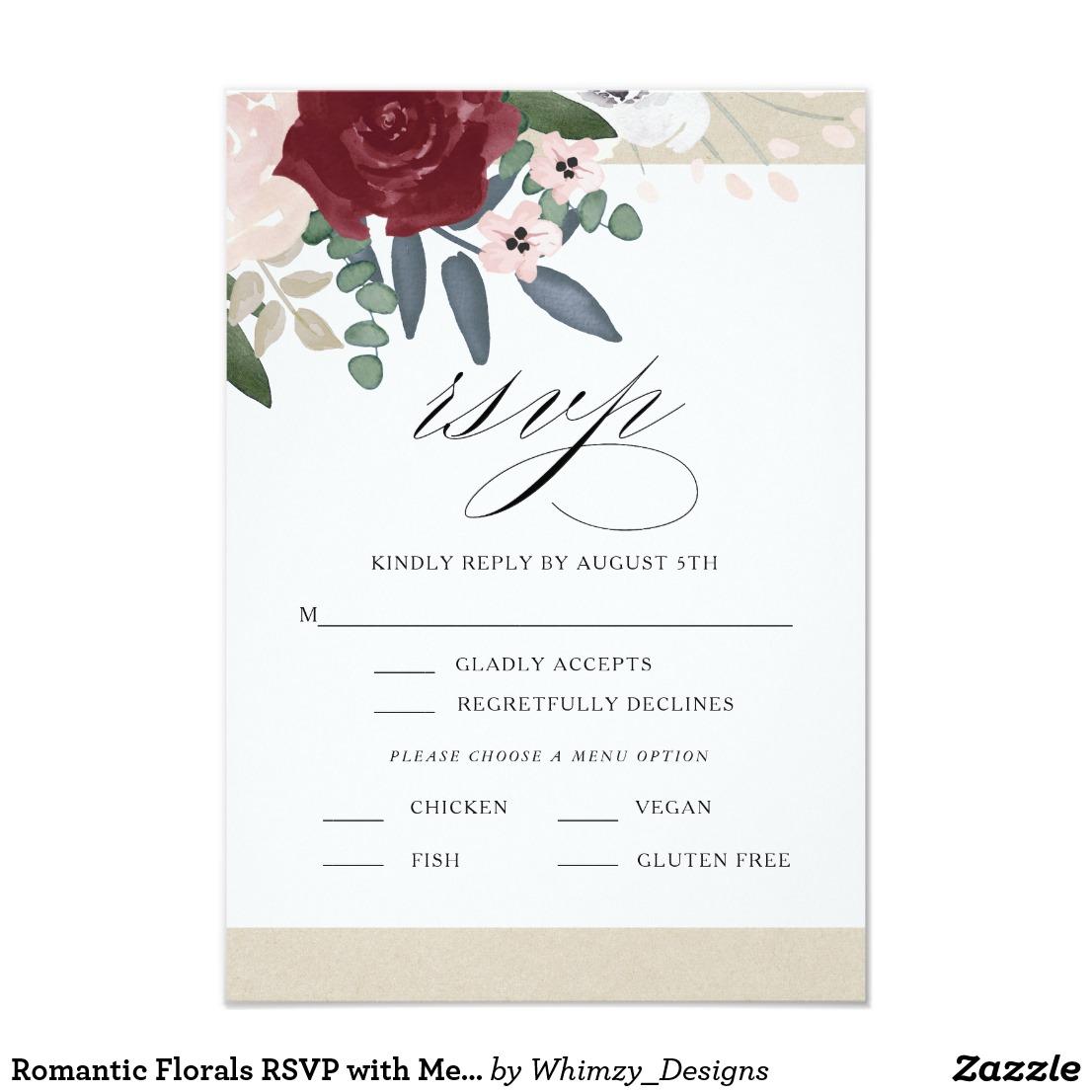 romantic florals wedding menu example
