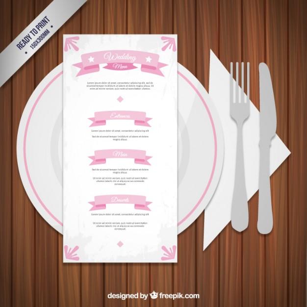 romantic wedding menu example
