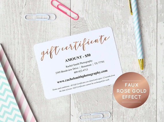 rose gold gift card example