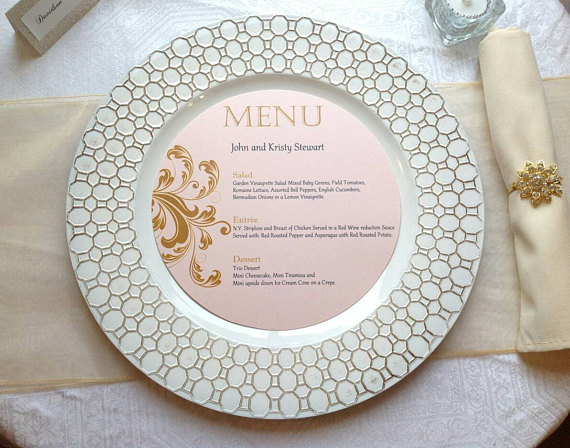 round plate wedding menu card example
