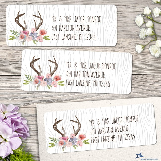 rustic antlers address label example