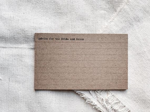 rustic index card example