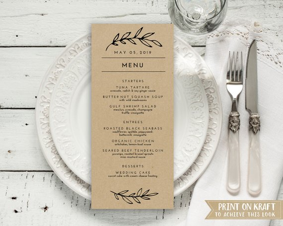 rustic leaves wedding menu card example