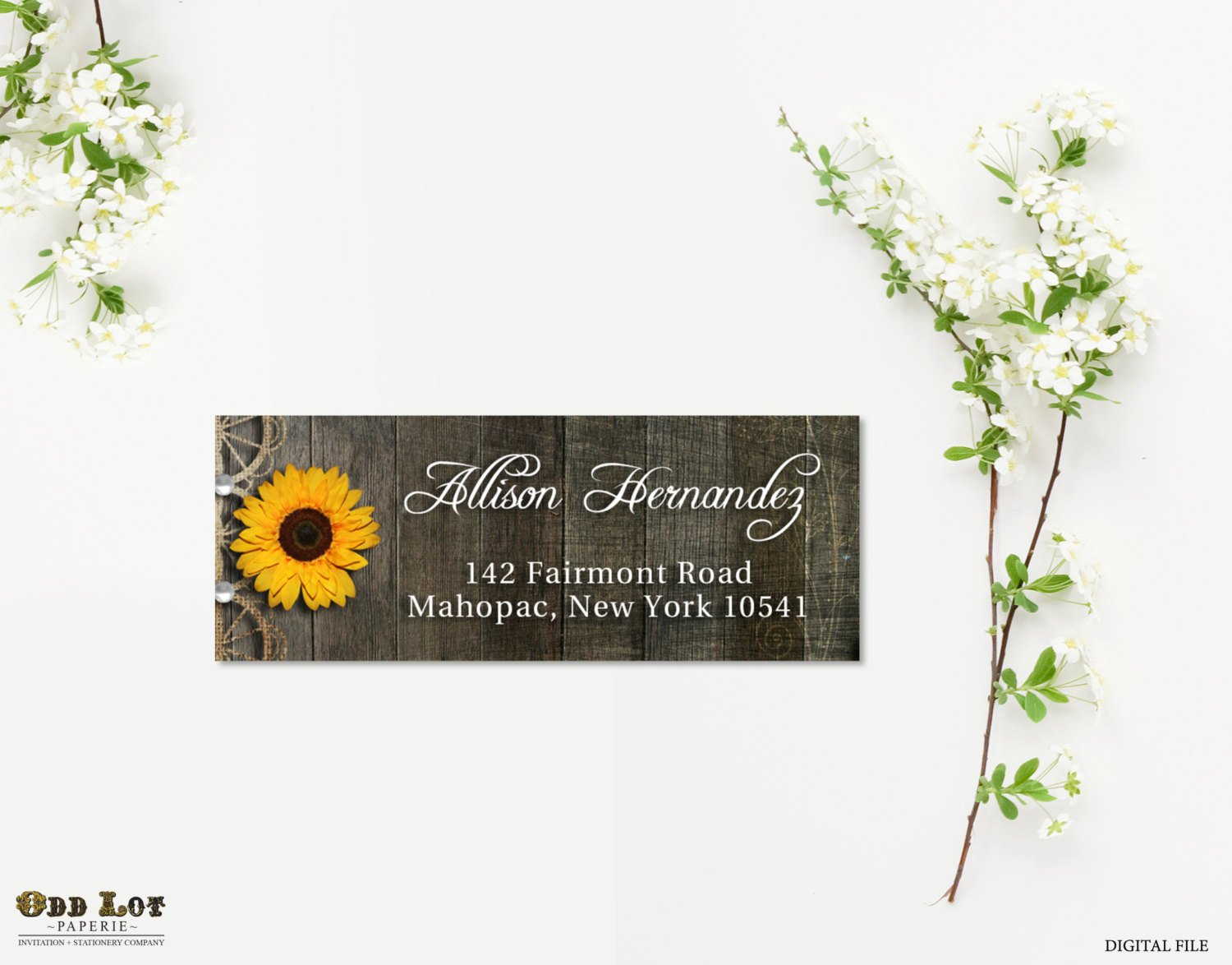 rustic sunflower address label example