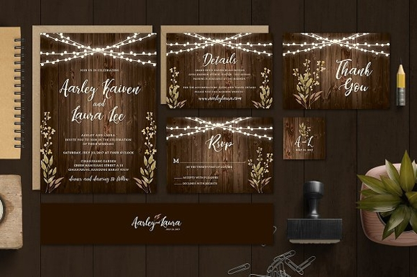 rustic wedding invitation card