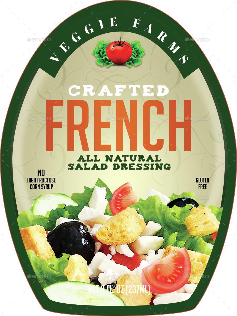 salad dressing bottle label example
