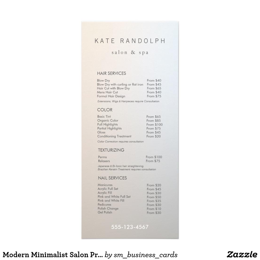 salon menu design for wedding example