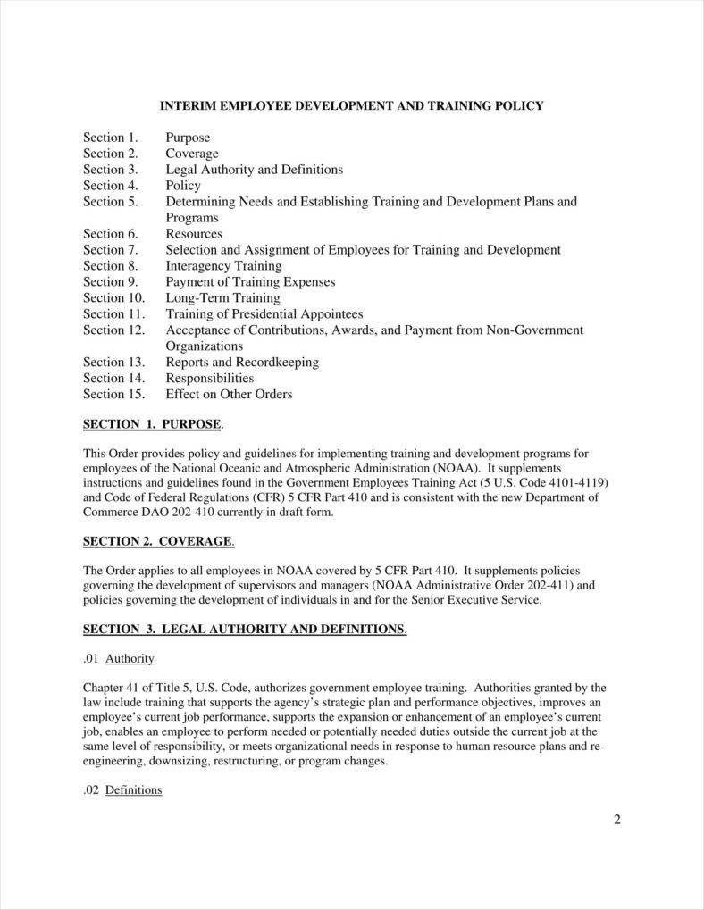 sample employee training policy template example