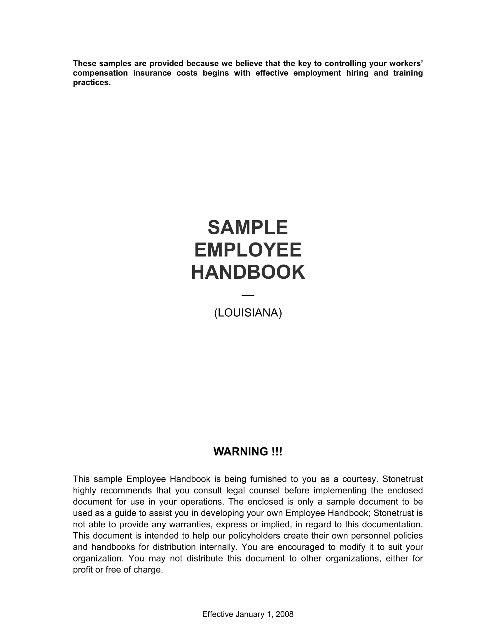 sample handbook for employee work rules