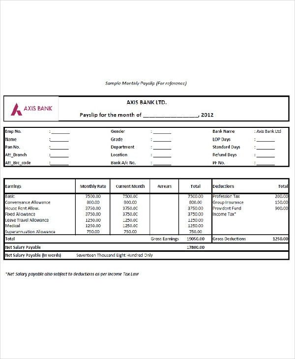 sample monthly payslip example1