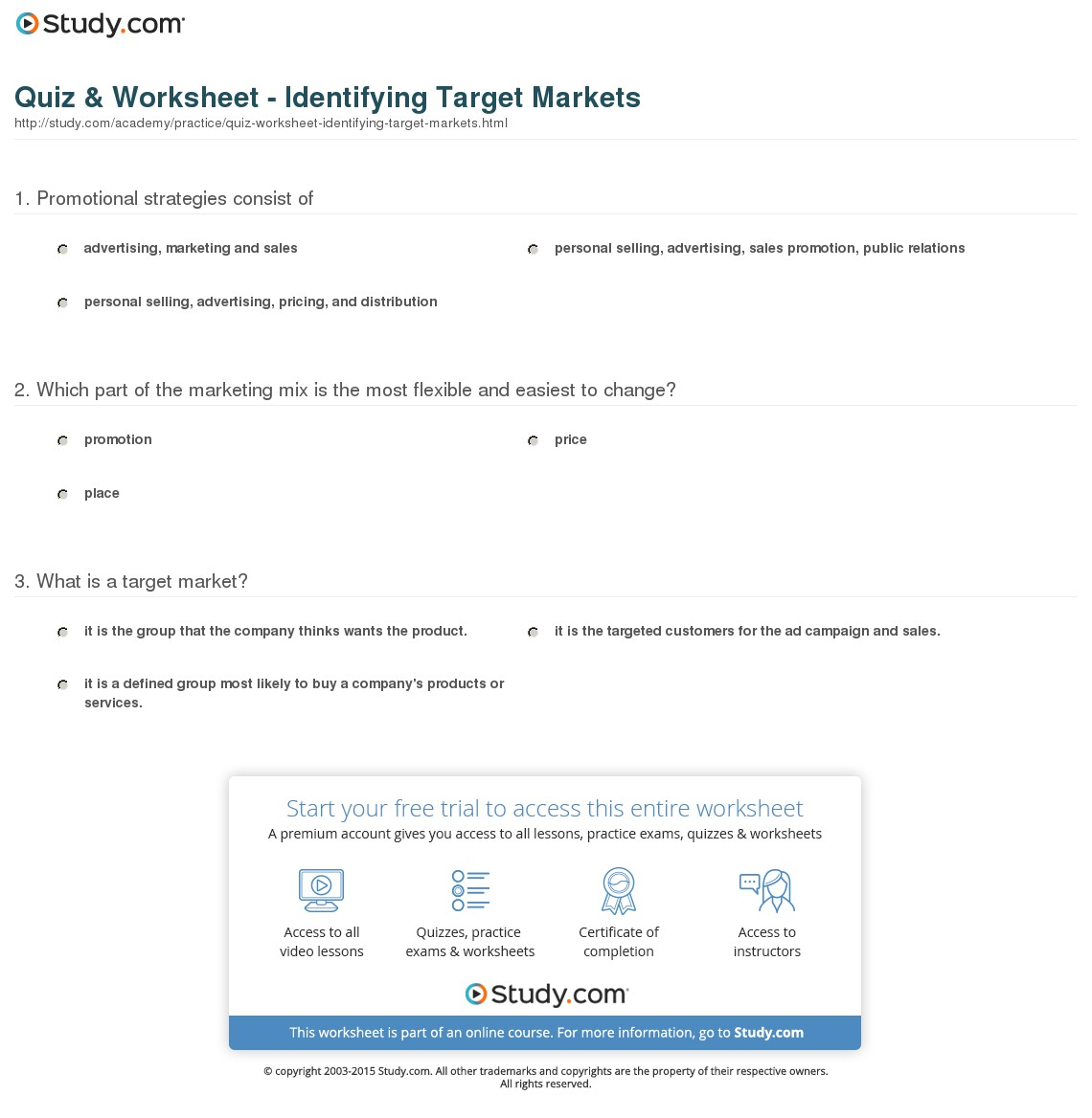 sample quiz and worksheet identifying target markets