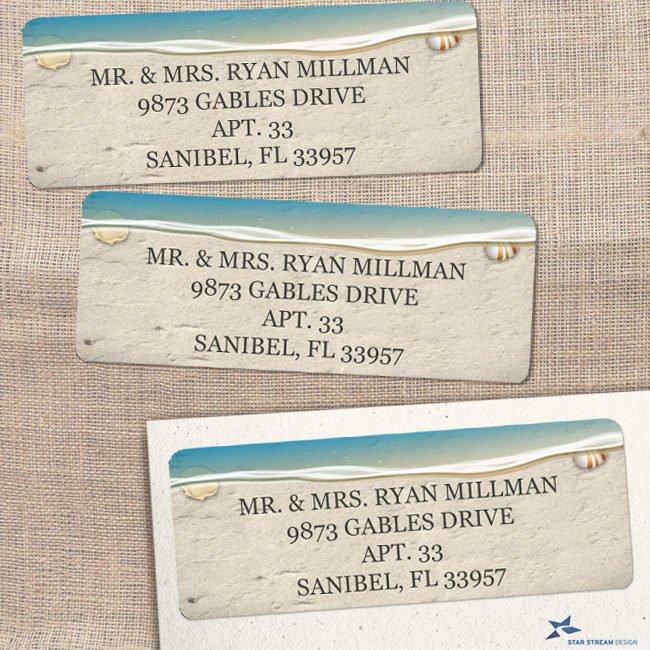 sandy beach address label example