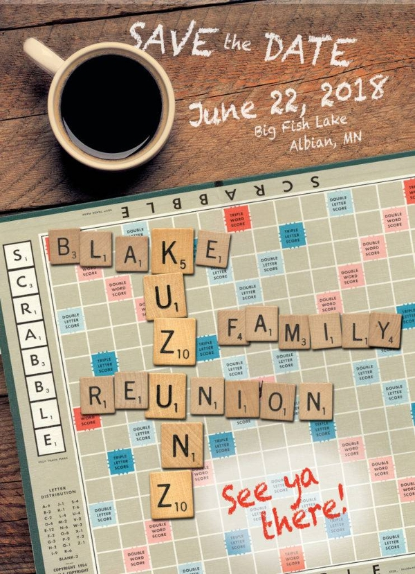 save the date reunion scrabble example