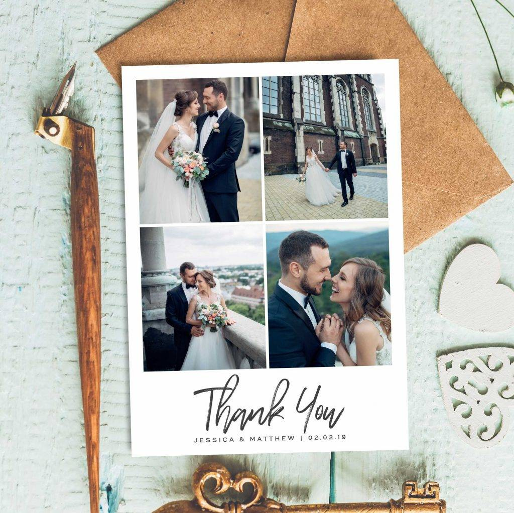 scenery wedding thank you postcard example