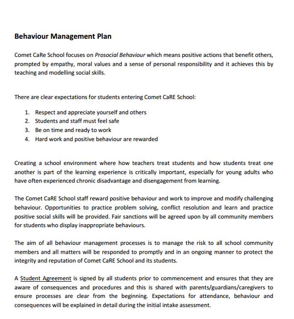 school behaviour management plan
