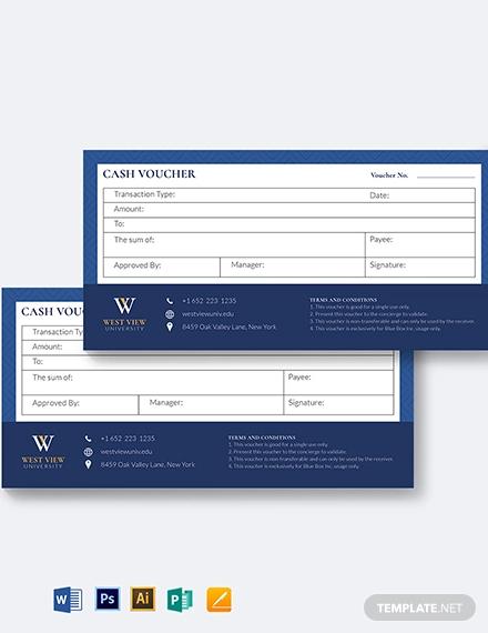 school cash voucher template