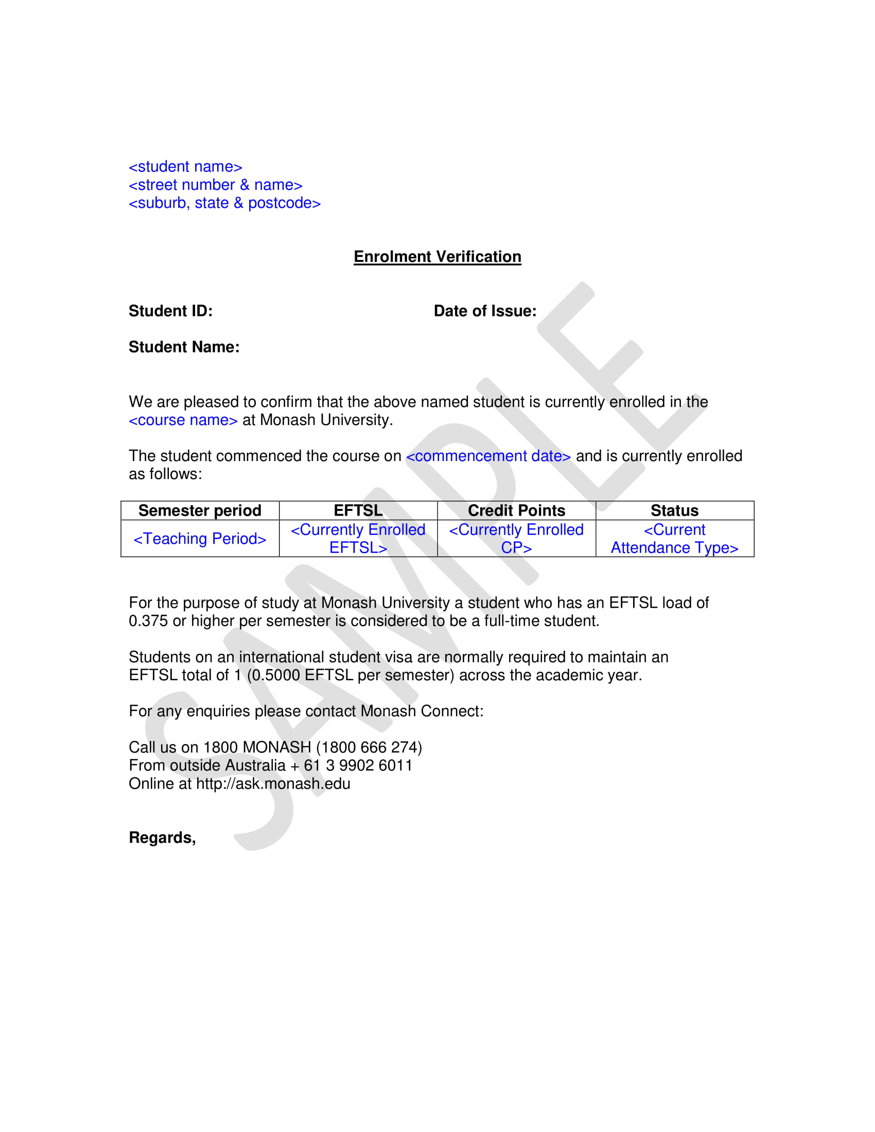 school enrollment verification letter example