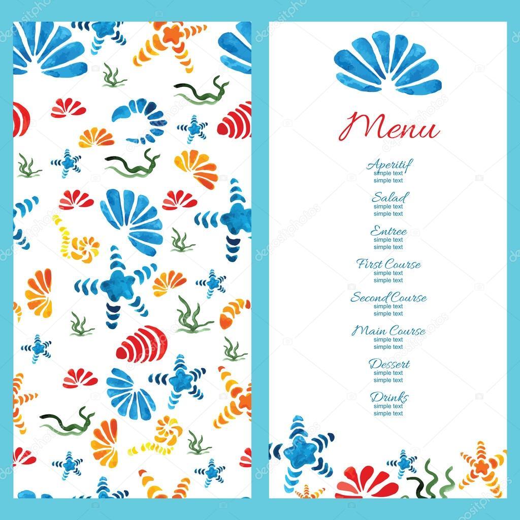 seashells wedding menu example