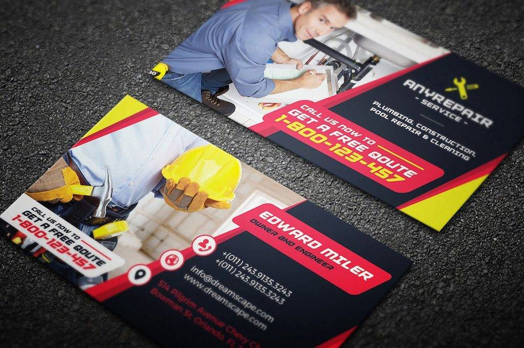 service or repair business card example