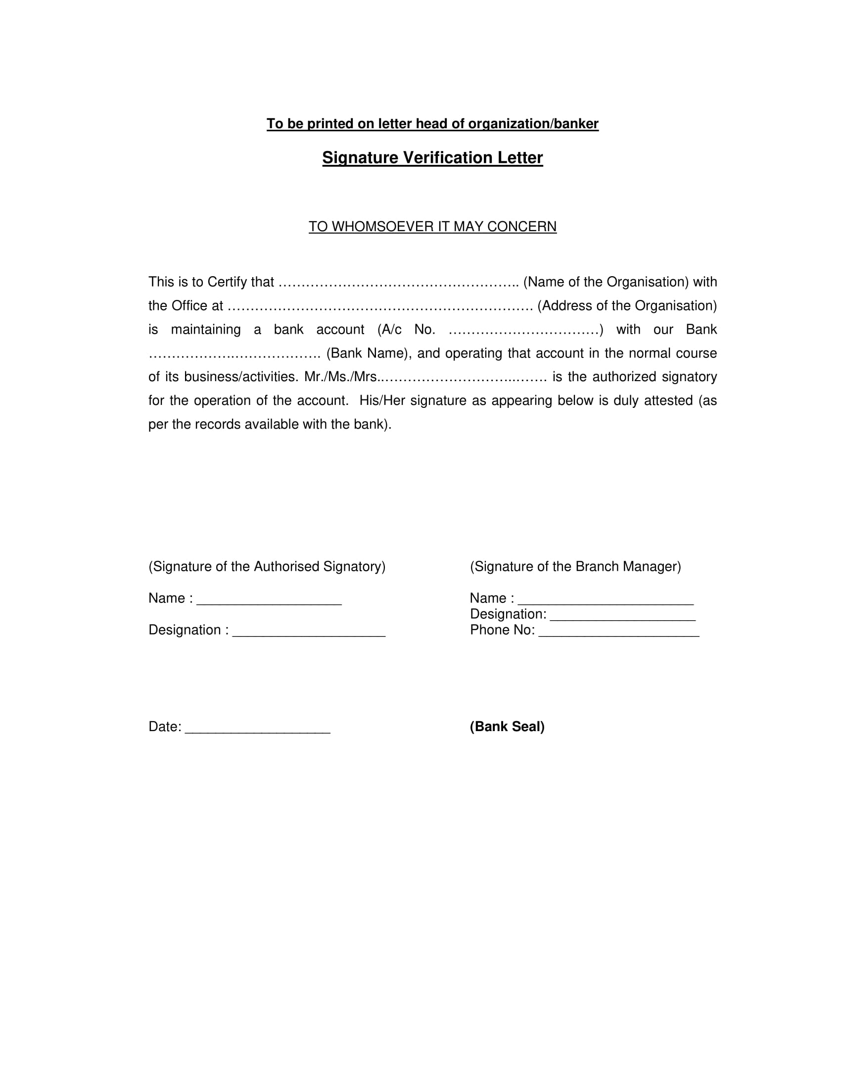signature verification letter example