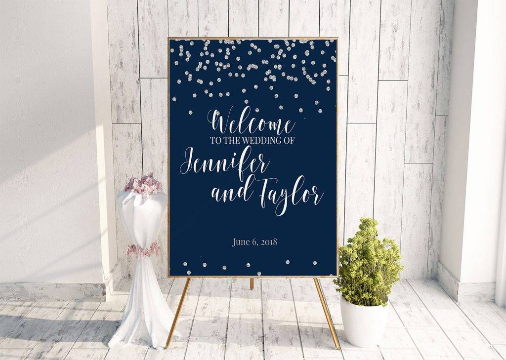 silver foil winter wedding signage design example 1024x729