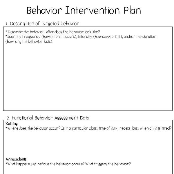 simple behavior intervention plan example1