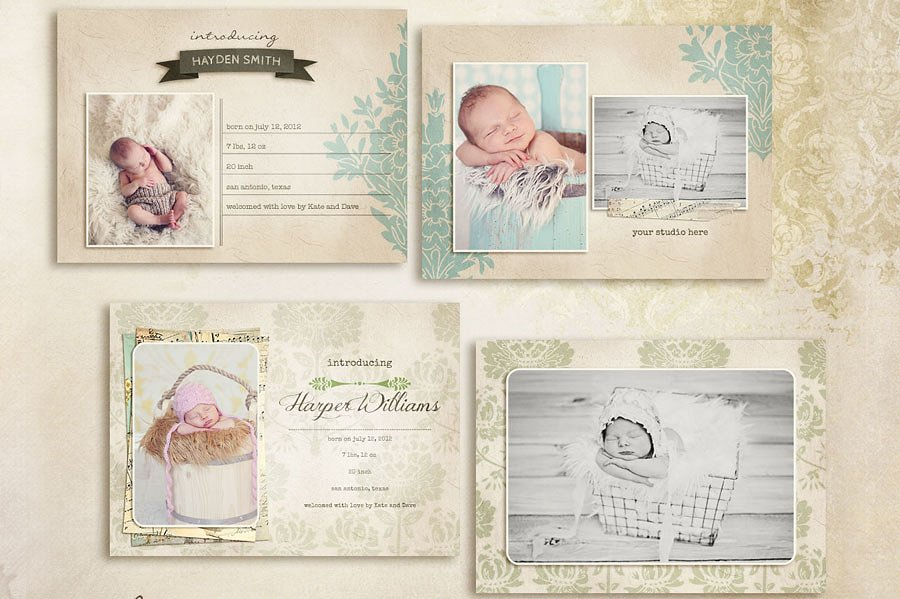 simple birth announcement card design example
