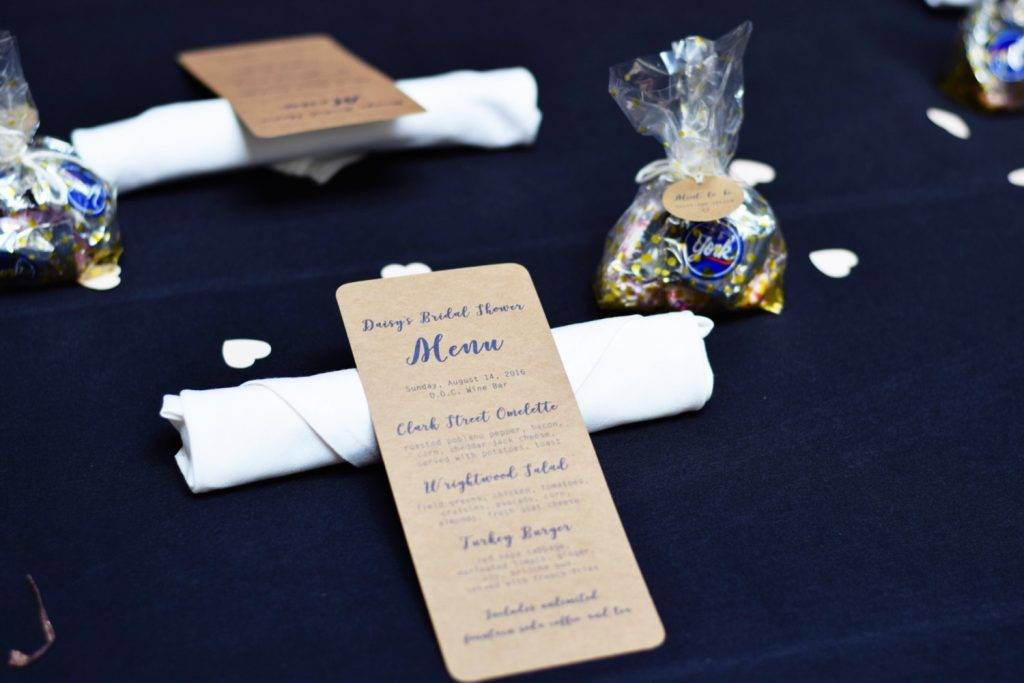 simple calligraphy rustic kraft event menus