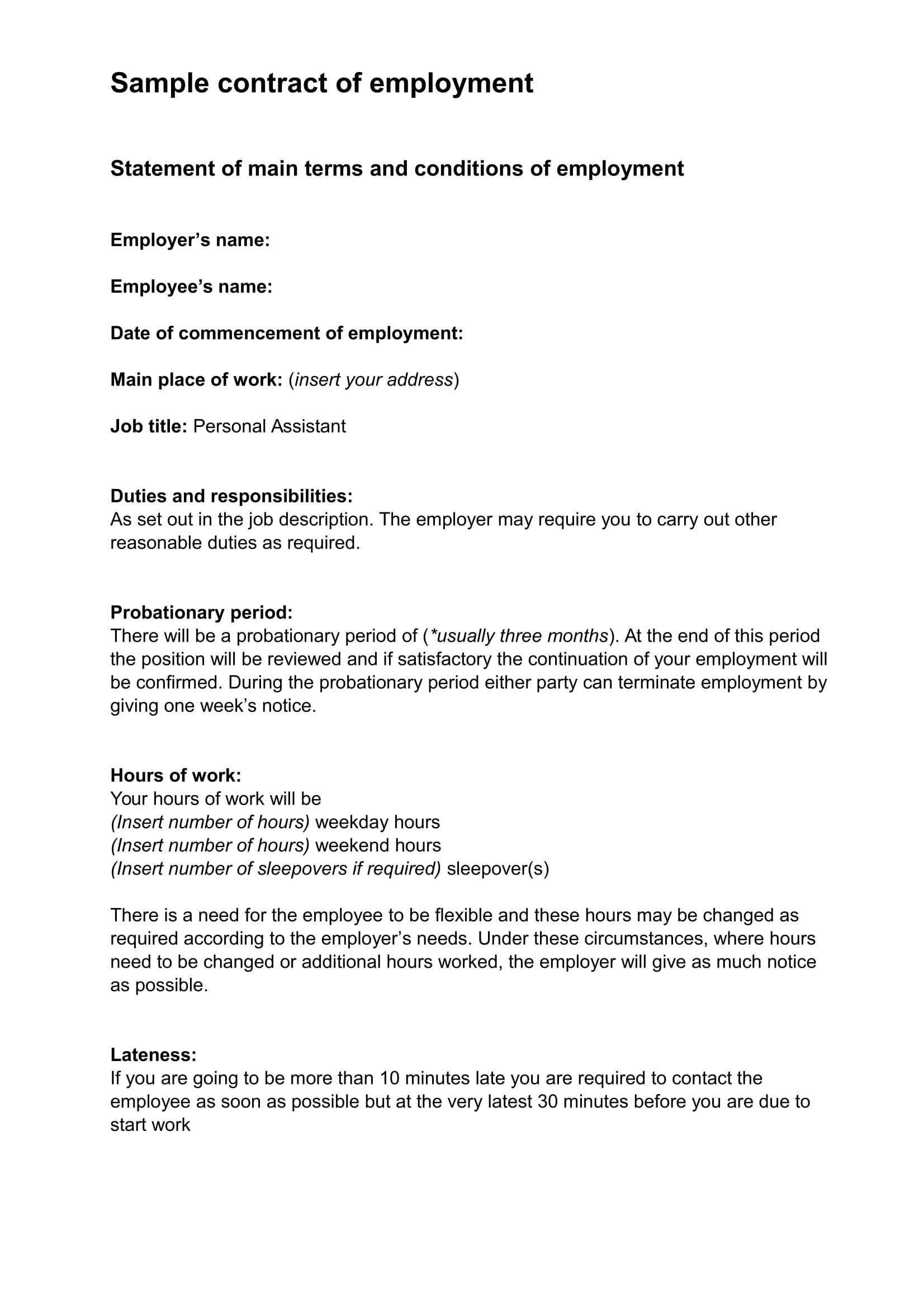 20 contract examples word for Basic contract of employment template