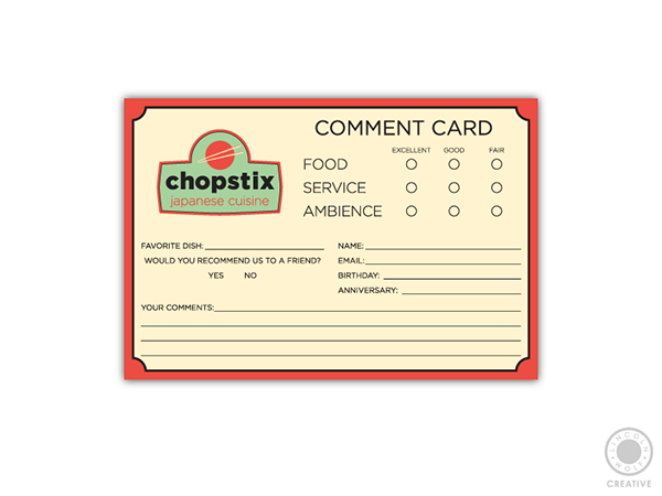 simple food service comment card example