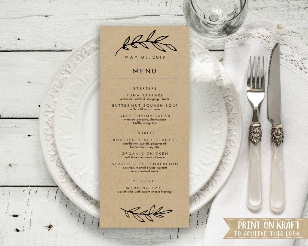 simple leaf heading wedding menu example