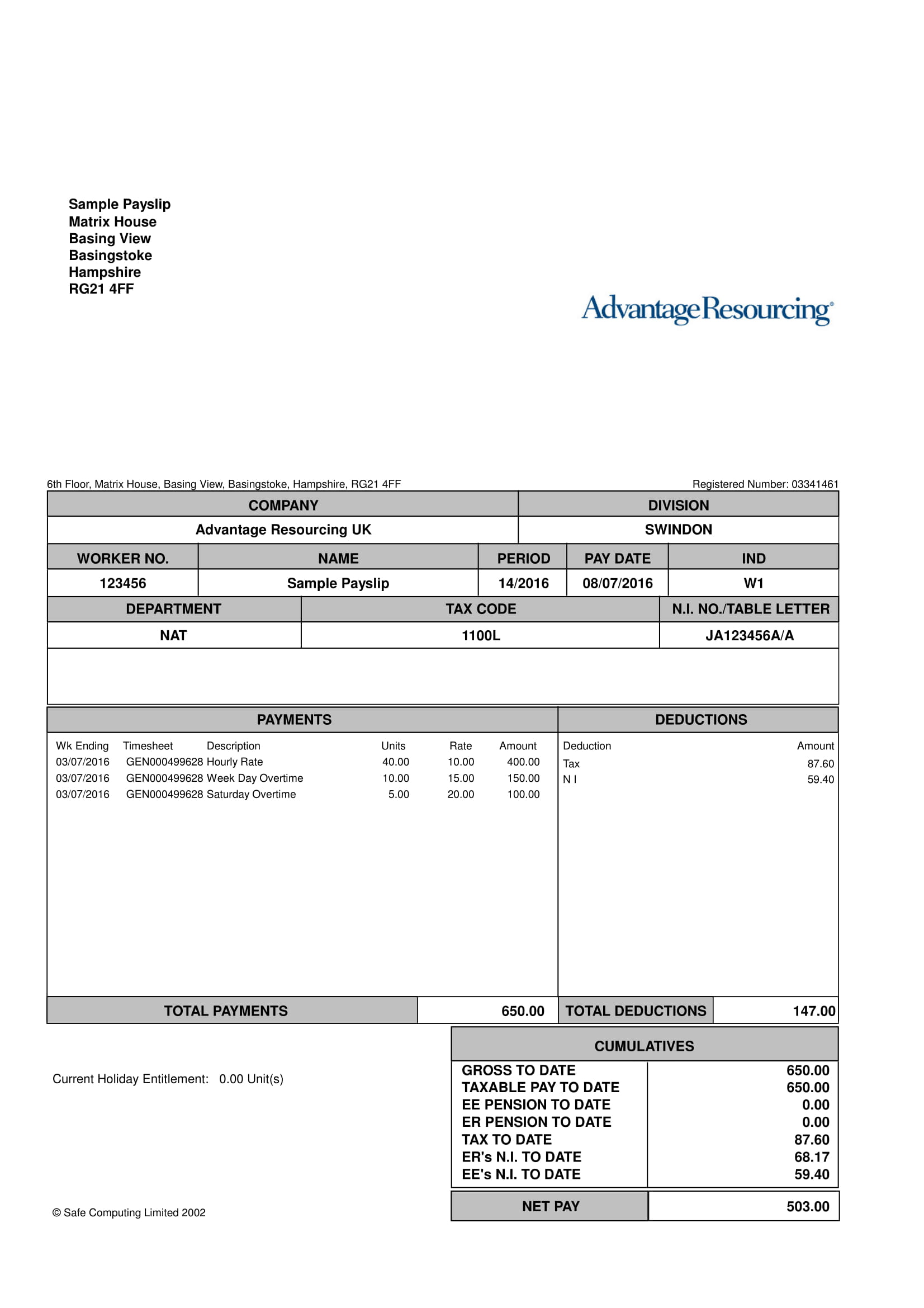 simple payslip example