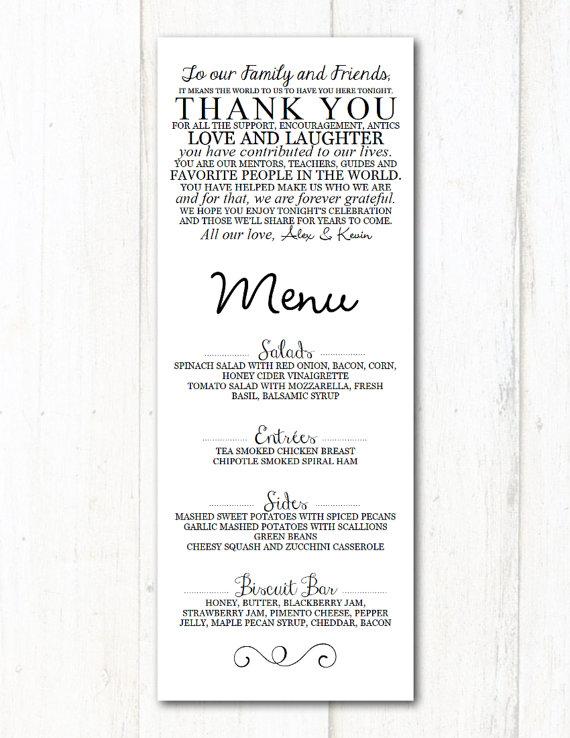 simple printable wedding menu example