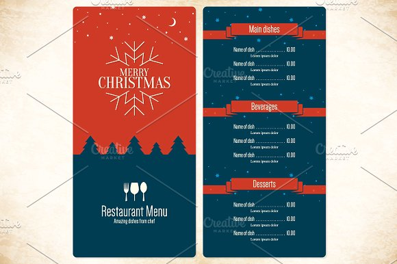 simple red blue christmas menu example