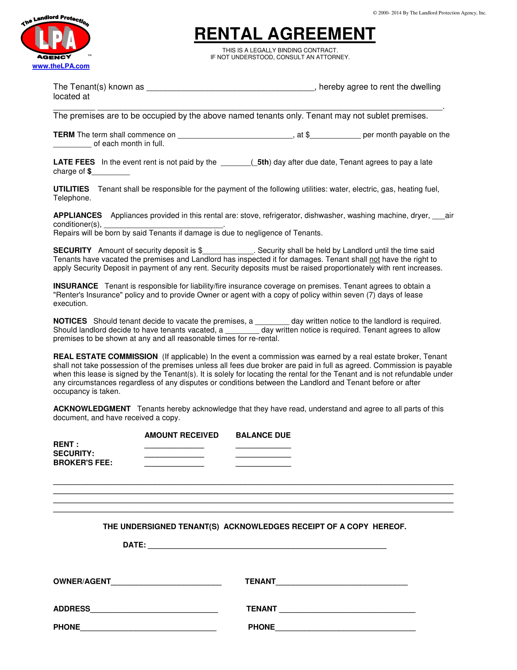 simple rental agreement letter example