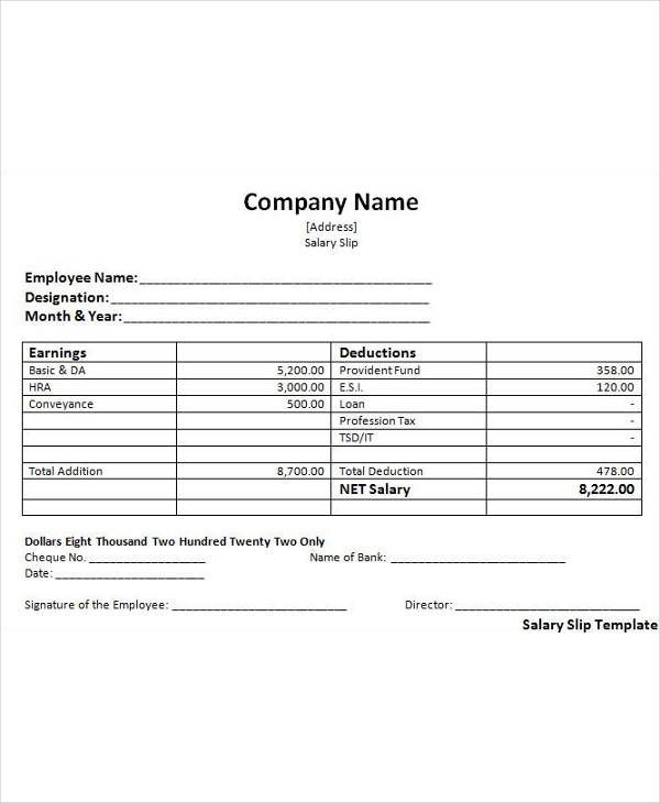 simple salary slip example1