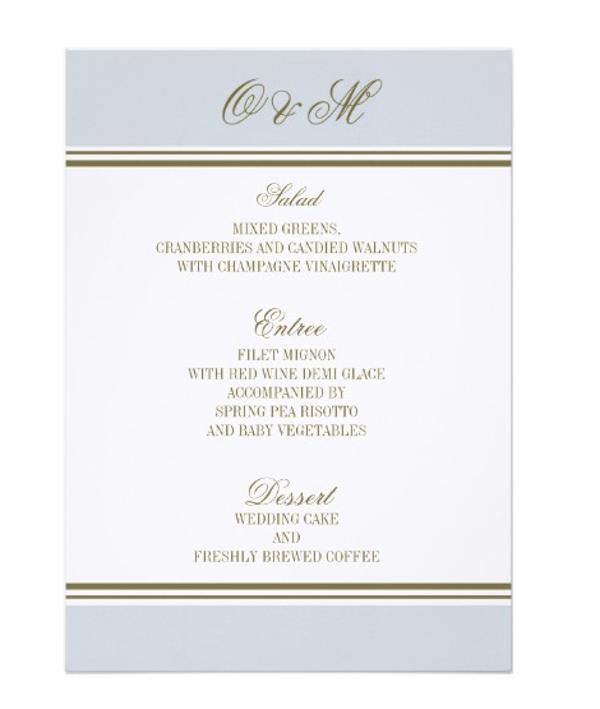 simple stripe french blue wedding menu card
