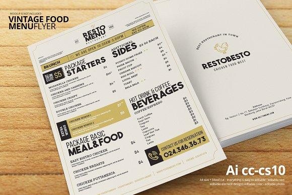 simple vintage food menu example