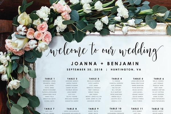 simple wedding seating chart design example
