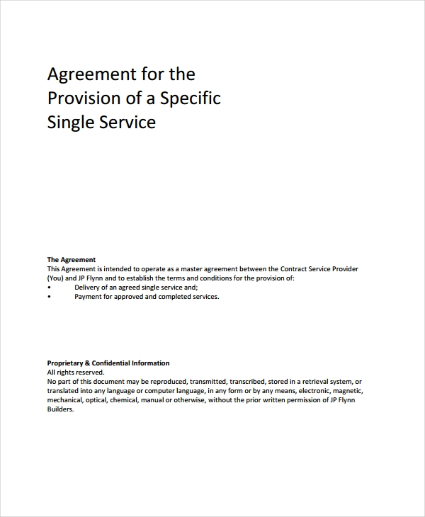 single service agreement
