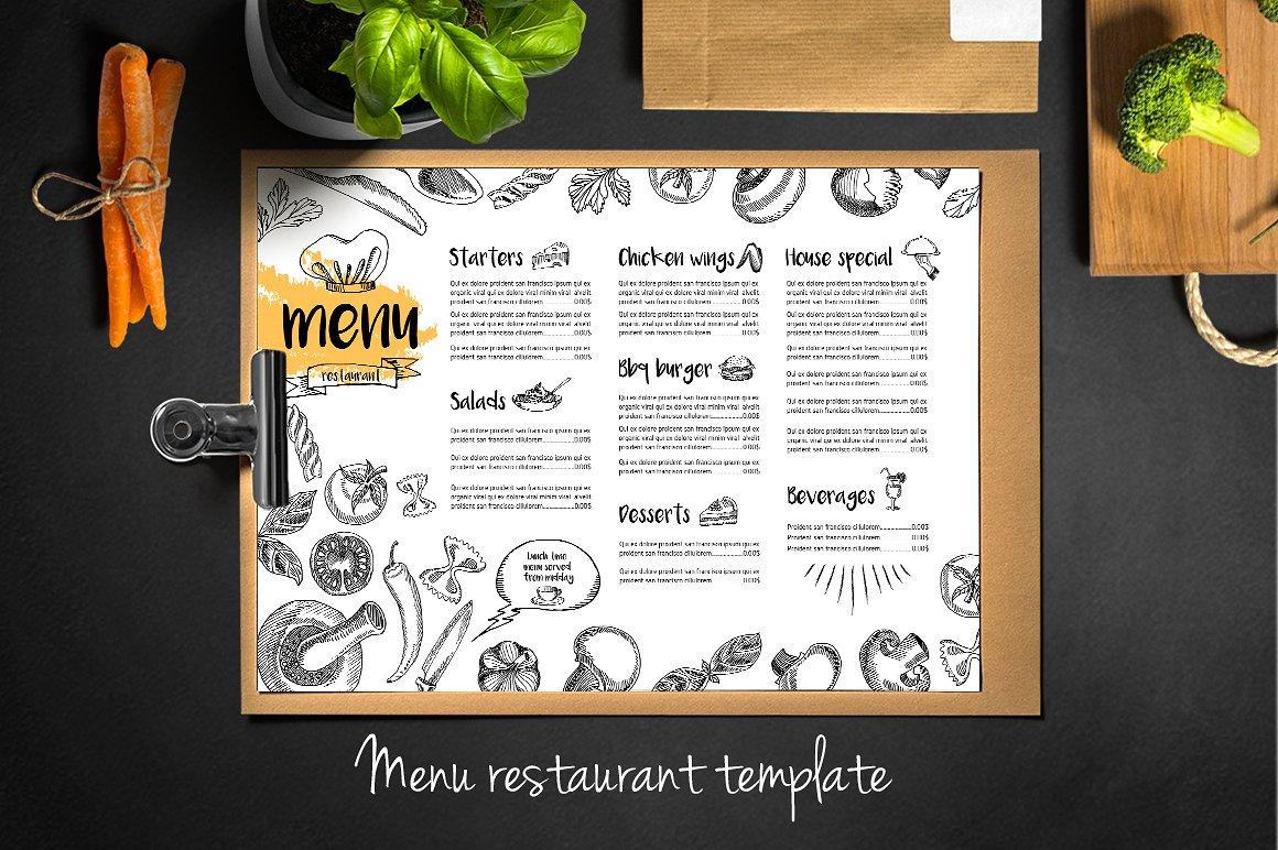 sketch restaurant menu example