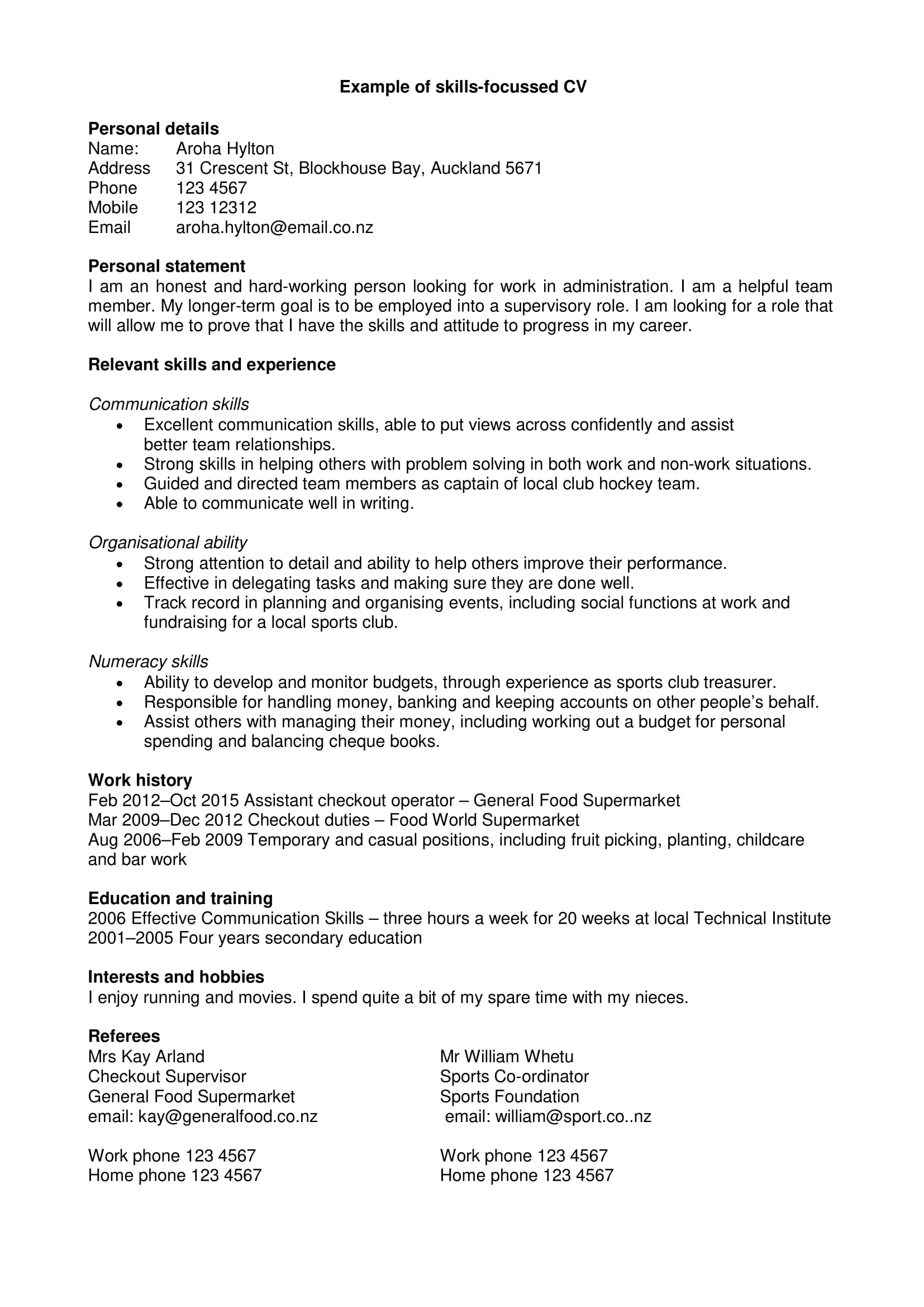 skills focused cv with personal statement example