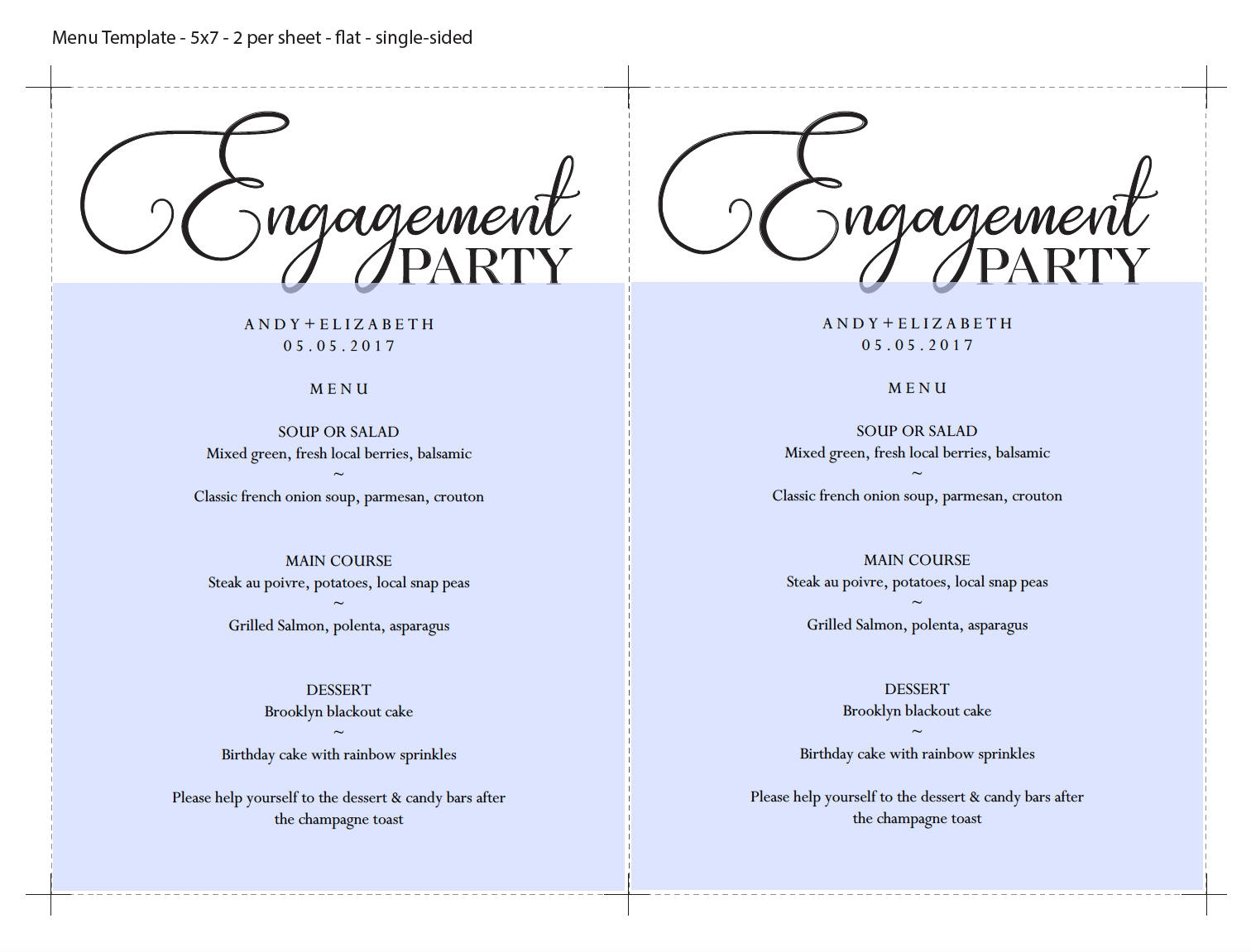 sky blue engagement party menu example