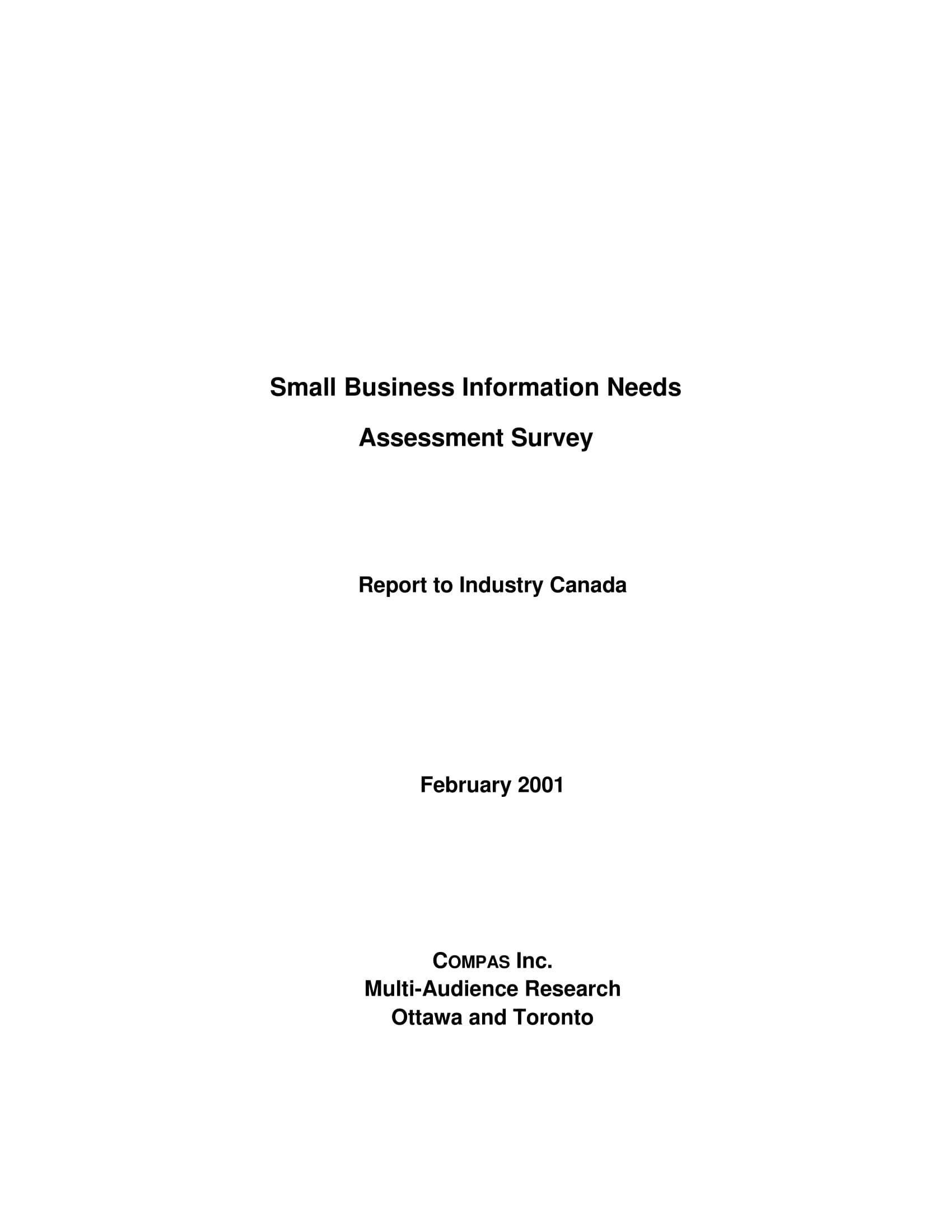 small business needs assessment survey report example