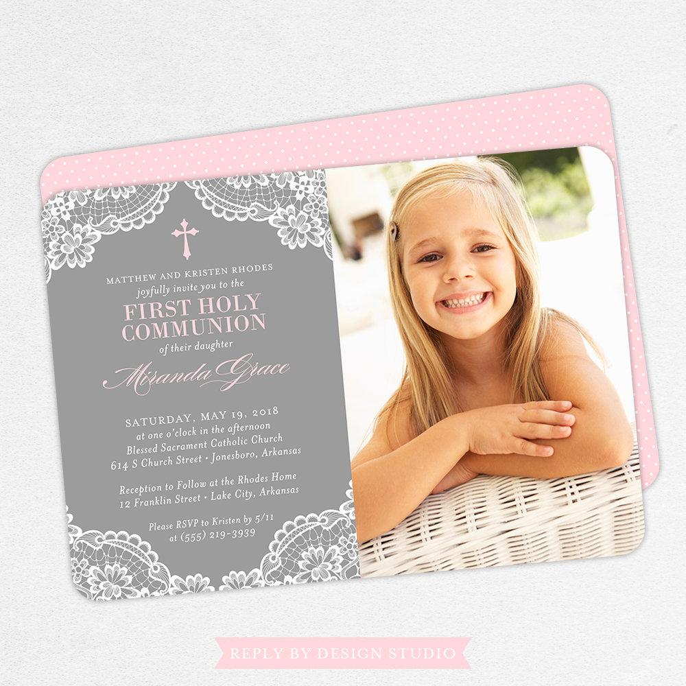 smiling girl first communion invitation