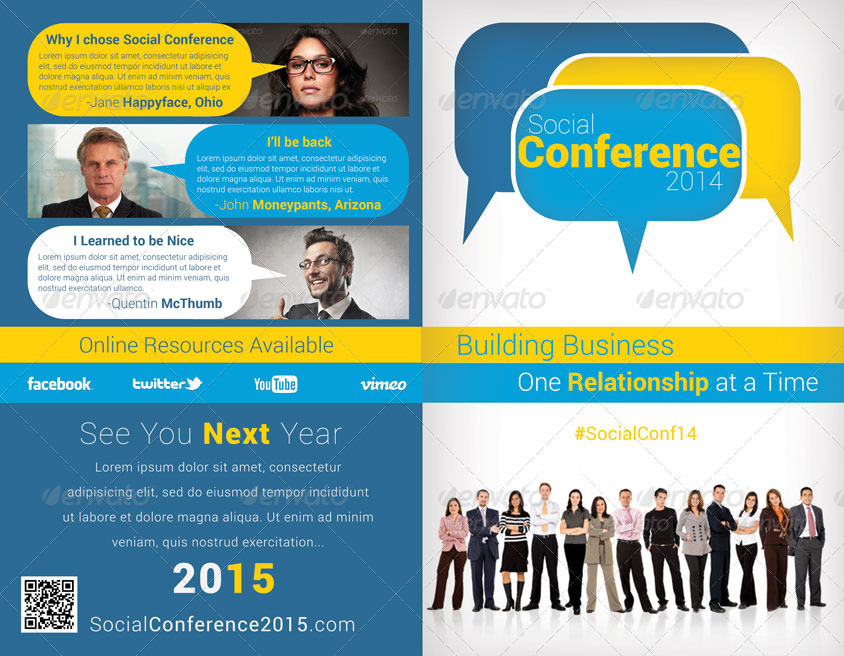 social conference bifold conference brochure pack