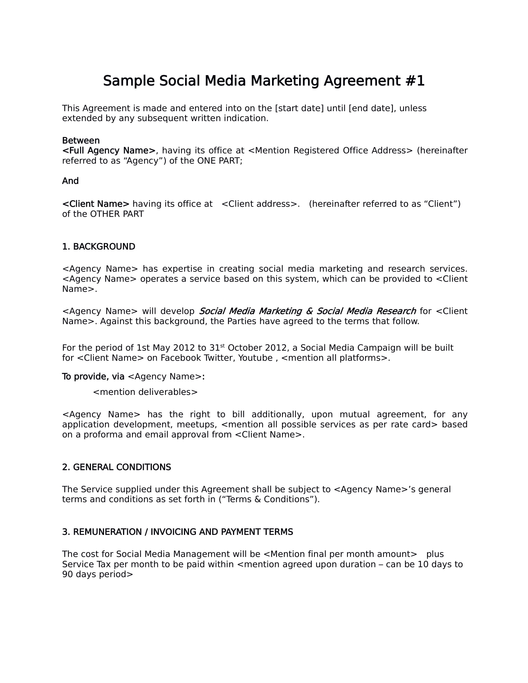 social media marketing agreement template example